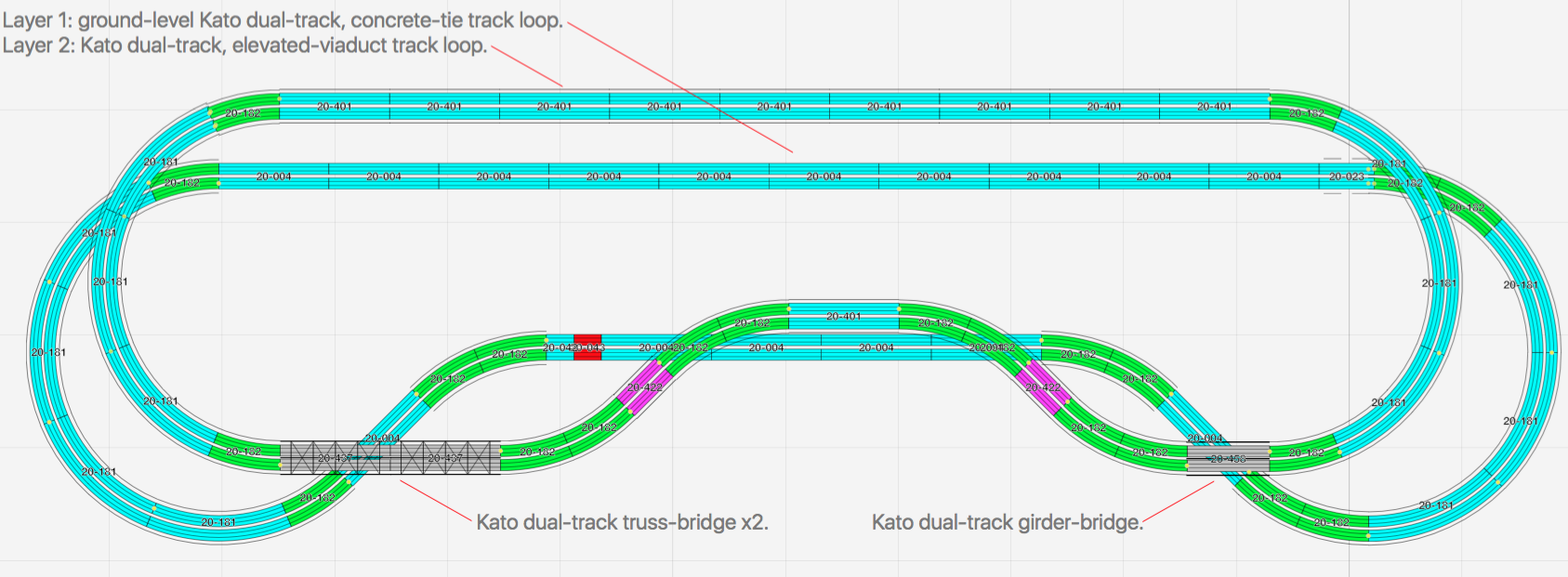 N Scale Kato Unitrack Unitram Layout Small Build Progress Track Wiring The Upper Loop Is Dual Raised Viaduct Lower Represents Ground Level Rail Lines